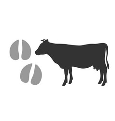 Bull footprints and black silhouette vector