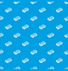 bundle note pattern seamless blue vector image