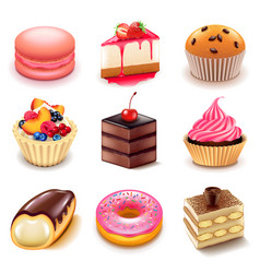 cakes icons set vector image