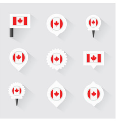 Canada flag and pins for infographic and map vector