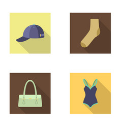 Cap sock hat bag and other clothes clothes set vector