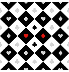 Card Suits White Black Diamond Background vector image