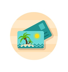 Card with palm icon summer vacation vector