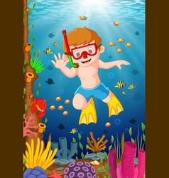 Cartoon boy diving in the sea vector