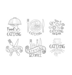 catering service hand drawn retro labels set food vector image