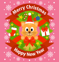 Christmas and new year background card with cat vector