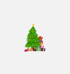 Christmas tree and gift box for wallpaper card vector