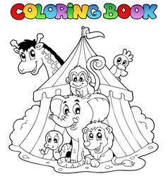 Coloring book animals in tent vector