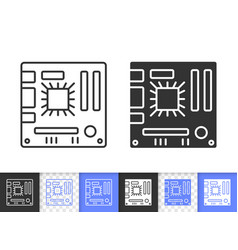 computer motherboard simple black line icon vector image