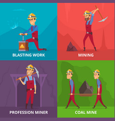 concept of miners characters at work vector image