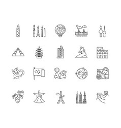 country line icons signs set outline vector image