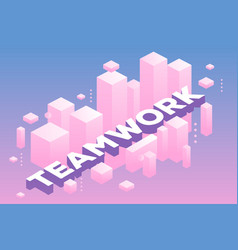 creative of three dimensional word teamwork with vector image