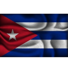 Crumpled flag of Cuba a light background vector