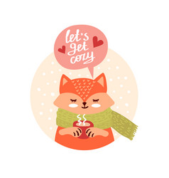 cute fox with cup vector image
