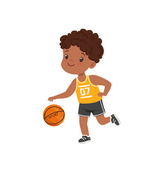 Cute little african american boy playing basketbal vector