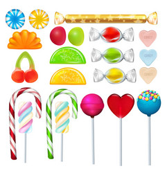 Different sweets and candies from sugar realistic vector