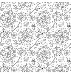 Doodle pattern with flowers and ladybird coloring vector