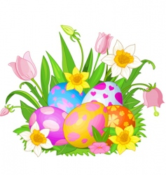 Easter eggs in a grass vector