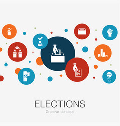 Elections trendy circle template with simple icons vector