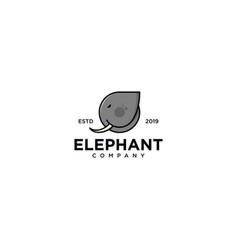 Elephant emblem label logo design vector