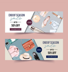Fashion banner design with perfume outfit vector