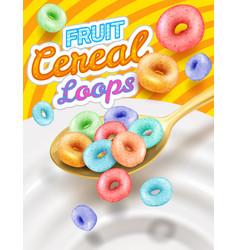 Fast breakfast - round colored cereals flakes vector