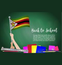Flag of zimbabwe on black chalkboard background vector