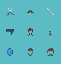 Flat icons looking-glass blow-dryer moustache vector