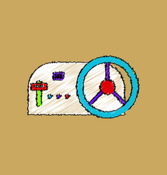 Flat shading style icon steering wheel and gearbox vector