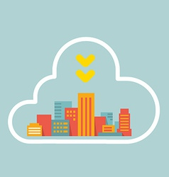 Flat style modern city within the cloud vector