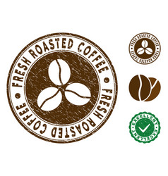 Fresh roasted coffee stamp with scratched surface vector