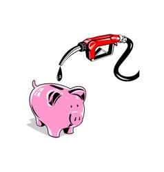 Fuel Pump Station Nozzle and Piggy Bank Retro vector image