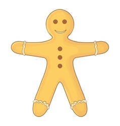 Gingerbread man icon cartoon style vector