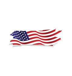 Grunge and torn waving american flag vector