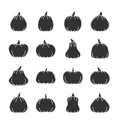 Halloween pumpkin black silhouette icon set vector