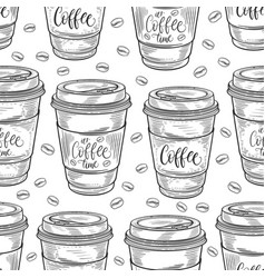 hand drawn coffee cups seamless pattern isolated vector image