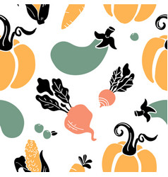 hand drawn seamless pattern of fruits vegetables vector image