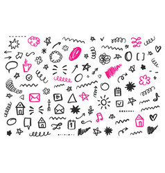 Hand drawn social media doodles isolated on white vector