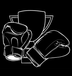 Hanging boxing gloves in black background vector