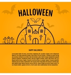 Happy halloween concept orange background with vector image
