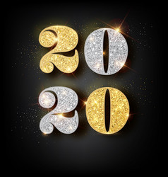 happy new year 2020 greeting card with gold vector image