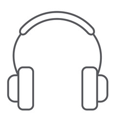 Headphones thin line icon music and sound audio vector