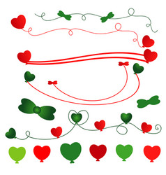 heart christmas balloons with rope on white vector image