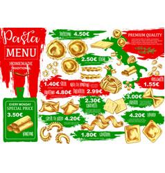 Homemade italian pasta types menu vector