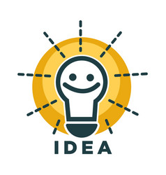 idea lamp or light bulb with smile face vector ico vector image