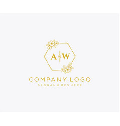 Initial aw letters decorative luxury wedding logo vector