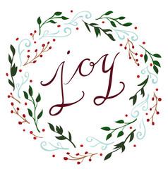 joy christmas wreath vector image