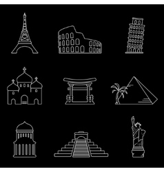 Landmarks line icons vector image