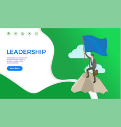 Leadership web page businessman on top mountain vector