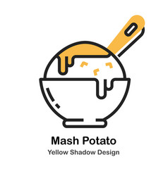 Mashed potato lineal color vector